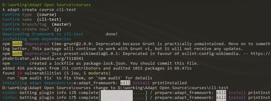 Adapt Learning Community: Node error when installing framework
