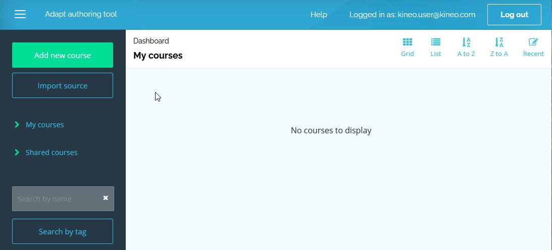 screenshot of the AAT dashboard