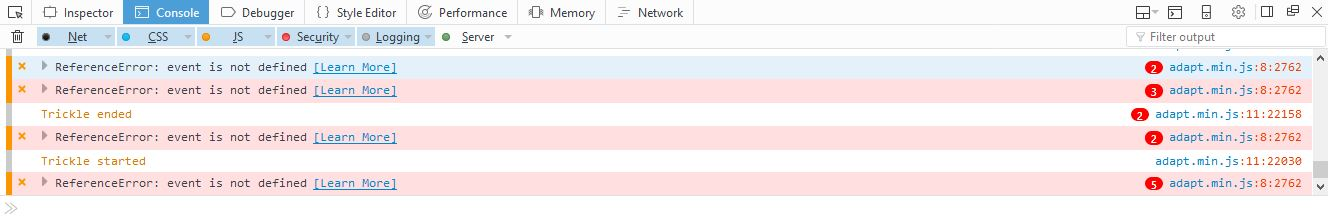 reference error in firefox