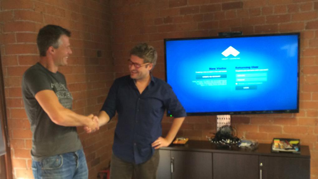 Sven welcoming Stefan